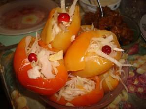 маринованный перец-салат из капустой на зиму