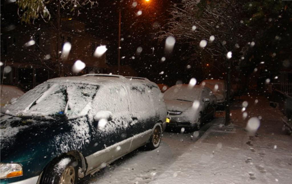 снег в Нью Йорке