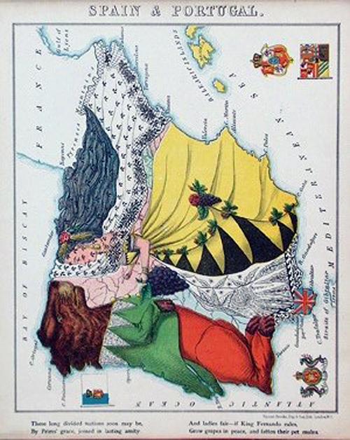 английский атлас Европы spainandportugalth1877 г.