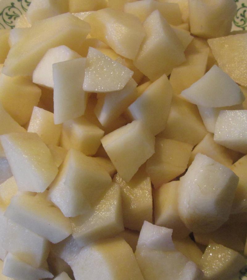 острый рыбный суп - картофель